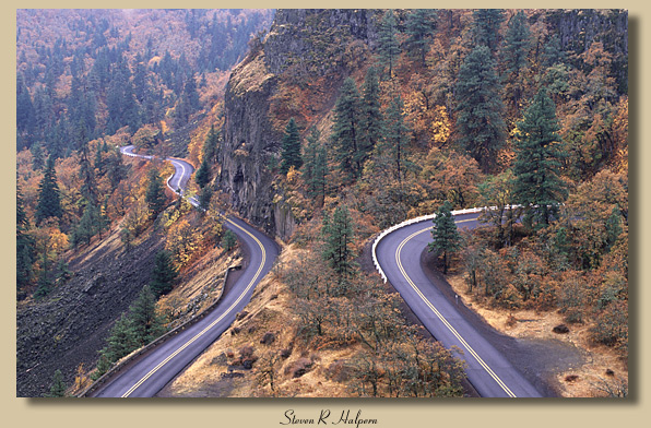 Rowena Curves, Historic Columbia River Highway, Oregon, Nov 1999
